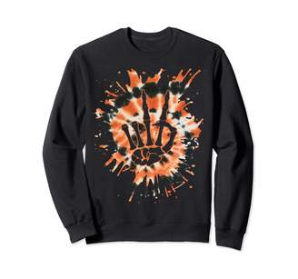 Tie Dye Halloween Co Orange Tie Dye Skeleton Hand Peace Sign - Hippie Halloween Sweatshirt