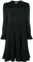 Fendi embroidered flared dress - women - Polyester/Viscose - 40