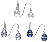 Allura White, Black and Grey Freshwater Cultured Pearl and Crystal Drop Earring Set in Sterling Silver
