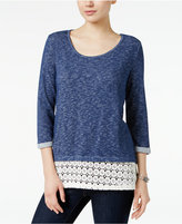 Style&Co. Style & Co. Crochet-Hem Top, Only at Macy's