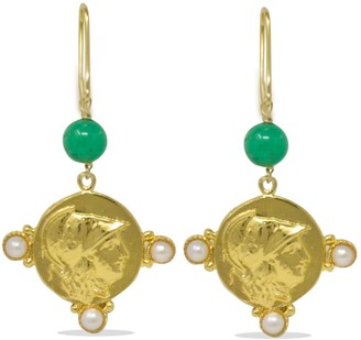 Vintouch Italy Athena Pearl & Chrysoprase Earrings