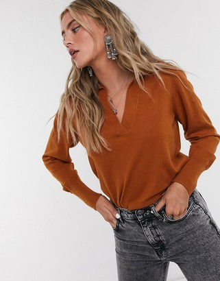 Object v neck jumper with collar in camel