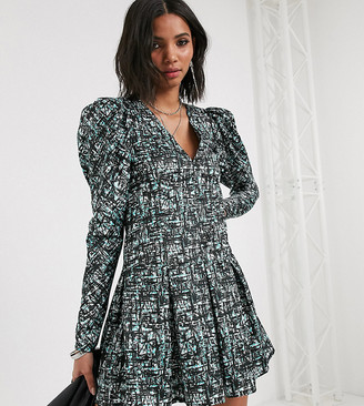 Reclaimed Vintage inspired dress with puff sleeve in abstract check print