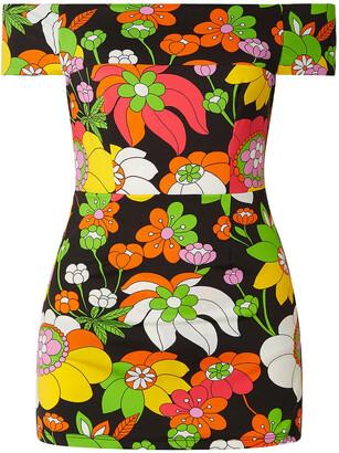 Dodo Bar Or Off-the-shoulder Floral-print Mini Dress