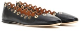 Chloé Flo Embellished Leather Ballerinas