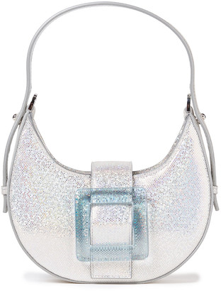 Les Petits Joueurs Cindy Buckled Glittered Suede Tote