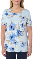 Cathy Daniels Picture Pretty Womens Scoop Neck Short Sleeve Floral Pullover Sweater, Small , Blue