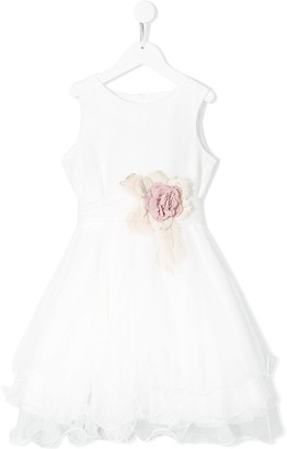Mimilù Ruffled Hem Floral Embellished Dress