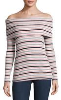 Splendid Ribbed Off-the-Shoulder Striped Long-Sleeve Top, Multicolor