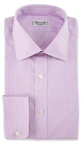 Charvet Striped Cotton Dress Shirt, Pink/Purple