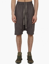 Grey Drop-crotch Cotton Trousers