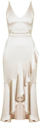 Undress Nuita Champagne Satin Bias Frill Midi Dress