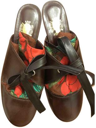 Bernhard Willhelm Brown Leather Mules & Clogs