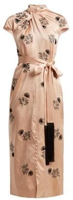 Erdem Finn Floral Beaded Silk Satin Dress - Womens - Pink Multi