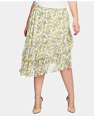 1 STATE 1.state Plus Size Printed Tiered Asymmetrical-Hem Skirt