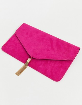 Asos Design DESIGN tassel clutch bag