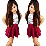 Fheaven Baby Girls Floral Dress Mini Skirt+Cotton Blend Top T-Shirt Outfits Set Clothes (4T, Red)