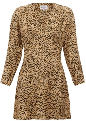 HVN Hoover Tiger-print Silk-crepe Mini Dress - Brown