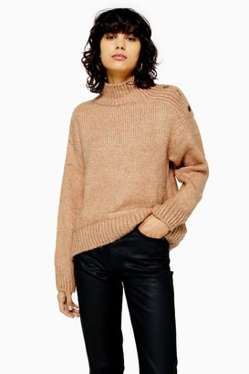Topshop Womens Camel Knitted Button Shoulder Jumper - Camel