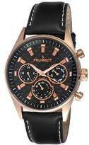 Peugeot Men's Multi Dial Chronograph Sport Watch with Black Leather Band 2048RBK