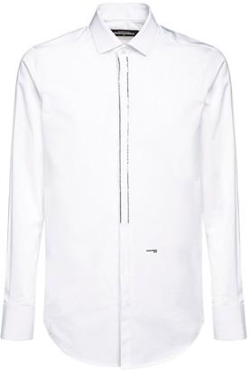 DSQUARED2 Embellished Slim Cotton Poplin Shirt
