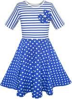 Sunny Fashion KJ15 Girls Dress Dot Bow Tie Short Sleeve Summer Beach