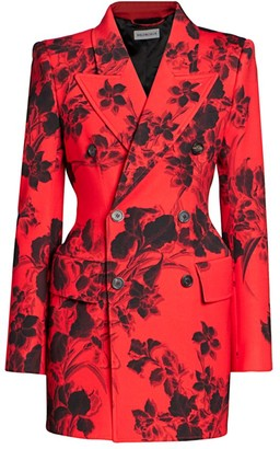 Balenciaga Hourglass Floral Double Breasted Blazer Jacket