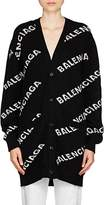 Balenciaga Women's Logo-Jacquard Wool-Blend Cardigan
