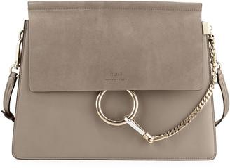 Chloé Faye Medium Flap Shoulder Bag, Motty Gray