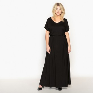 La Redoute Collections Plus Maxi Dress with Tie-Waist and Short Sleeves