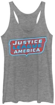 Fifth Sun Dc Justice League Of America Text Logo Tri-Blend Women's Racerback Tank