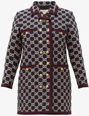 Gucci GG-monogram Tweed Single-breasted Coat - Navy Multi