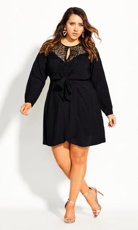 City Chic Lace Charm Dress - black
