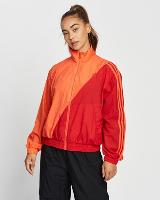 adidas Women's Red Jackets - Adicolor Sliced Trefoil Track Top - Size 8 at The Iconic