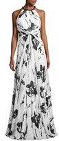 Carmen Marc Valvo Sleeveless Floral Silk Twist Gown, Ivory/Black