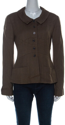 Chanel Brown Wool Point Collar Jacket M