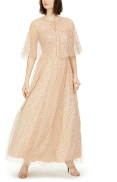 Eliza J Glitter-Dot Cape Gown