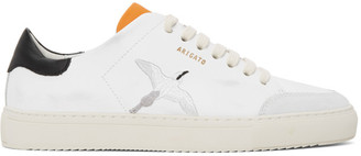 Axel Arigato White and Orange Distressed Triple Bird Clean 90 Sneakers