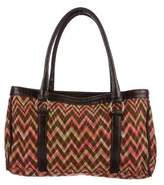 Missoni Leather-Trimmed Printed Tote
