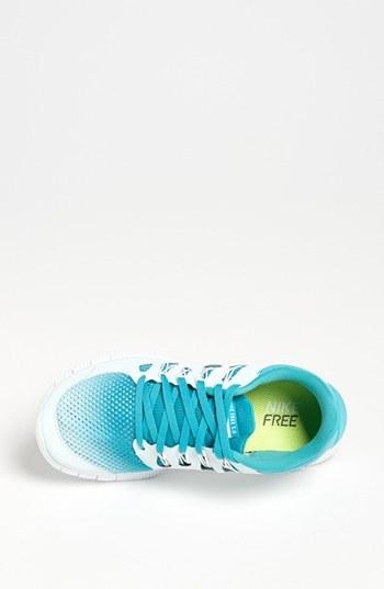 Nike 'Free 5.0+ Breathe' Running Shoe (Women) White/ Turquoise 11 M