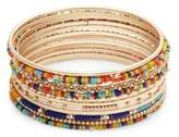 Design Lab Set of 12 Goldtone and Crystal Beaded Bangle Bracelets