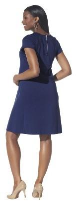 Maternity Short Sleeve Lace Inset Ponte Dress