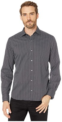 Bugatchi Dingle Long Sleeve Shirt Button-Down Collar Regular Placket (Caviar) Men's Clothing