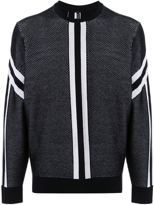 Blackbarrett Contrasting Stripe Relaxed-Fit Jumper