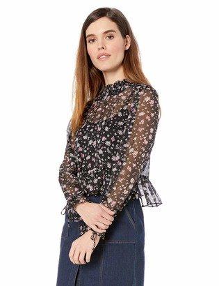 BCBGeneration Women's Smocked Neck Long Sleeve Woven TOP