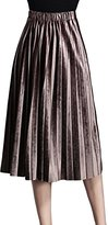 Melory Fashion Retro Metallic Velvet Pleated Midi Skirt Party Cocktail Skirt