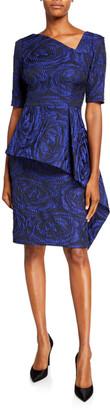 Rickie Freeman For Teri Jon Asymmetric Short-Sleeve Jacquard Peplum Sheath Dress
