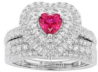 Sterling Silver Gemstone Heart Engagement Ring Set