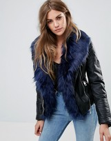 Urban Bliss Corona Pu Biker Jacket With Faux Fur Collar