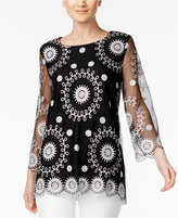 Alfani Embroidered Illusion Top, Only at Macy's